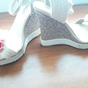 naughty monkey high heels wedges glittery